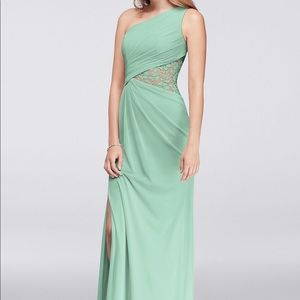 Mint bridesmaid's dress with lace cut out